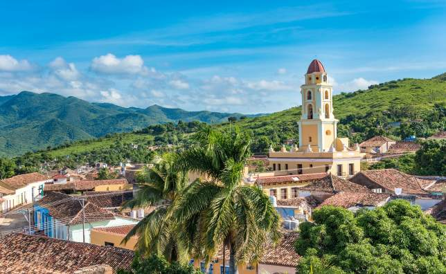Trinidad de Cuba a travelling landmark in the Caribbean Aerial view of Trinidad skyline including the Convent of Saint Assisi which is currently used as the Museum of the Fight Against Bandits