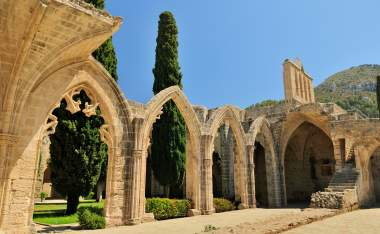 Bellapais Abbey Monastery in Kyrenia Turkish side of the island of Cyprus