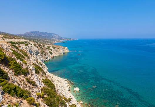 Beautiful turquois water and rocky coastline in Northern Cyprus