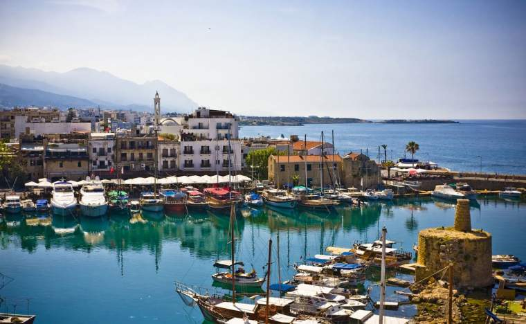 Boats and houses and reflections Marina of Kyrenia in Northern Cyprus