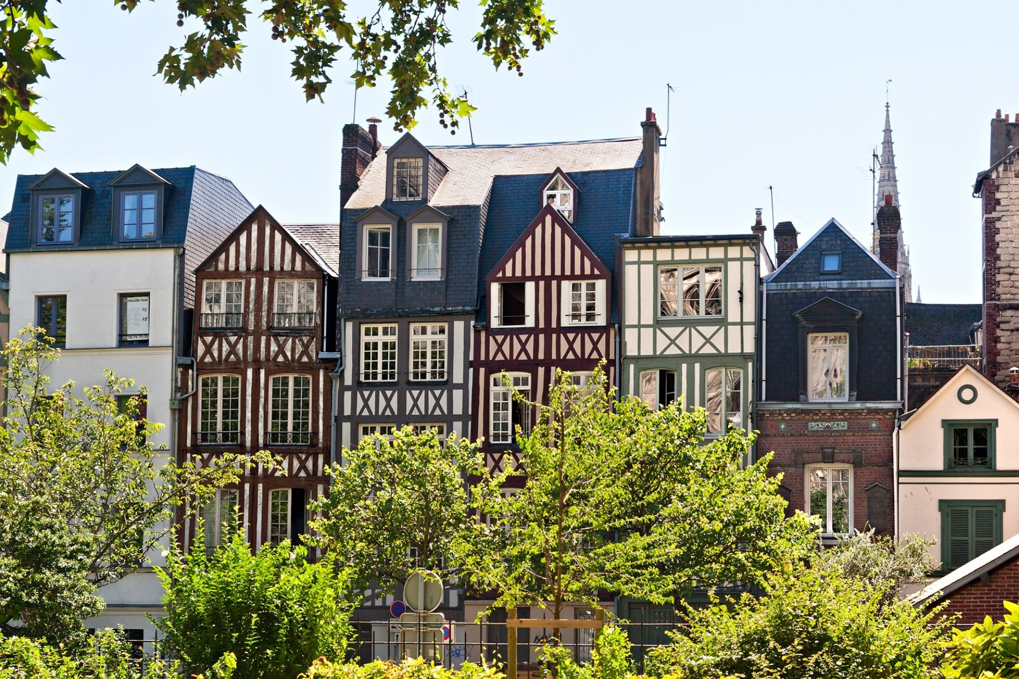 A-Row-of-Half-Timbered-Houses-in-Rouen-Normandy-France