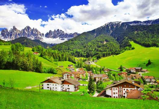 Amazing-scenery-of-Dolomites-Italian-Alps-View-with-village-Ma