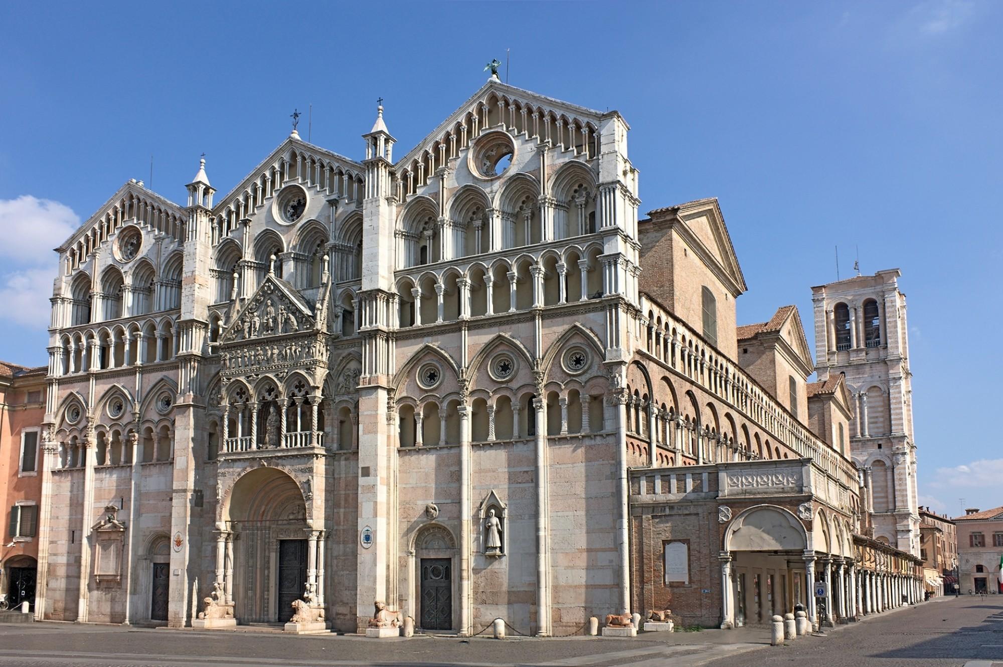 Antique Ferrara cathedral famous catholic landmark in Emilia Romagna Italy