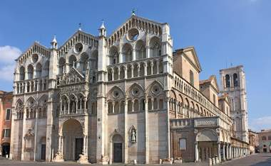 Antique Ferrara cathedral famous catholic landmark in Emilia Romagna Italy