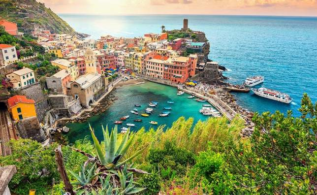 Panorama-of-Vernazza-and-suspended-garden Cinque-Terre-National-Park Liguria Italy Europe