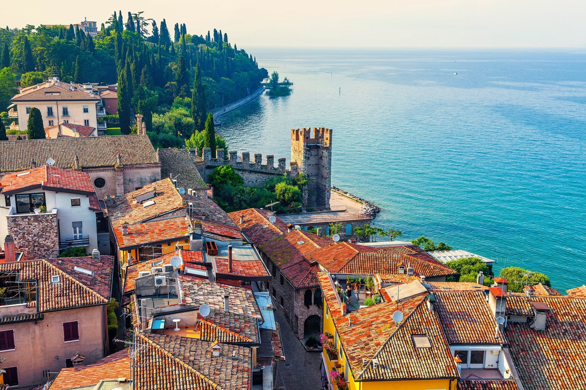 View-of-the-Italian-town-of-Sirmione-and-Lake-Garda-from-the-tower-Scaliger
