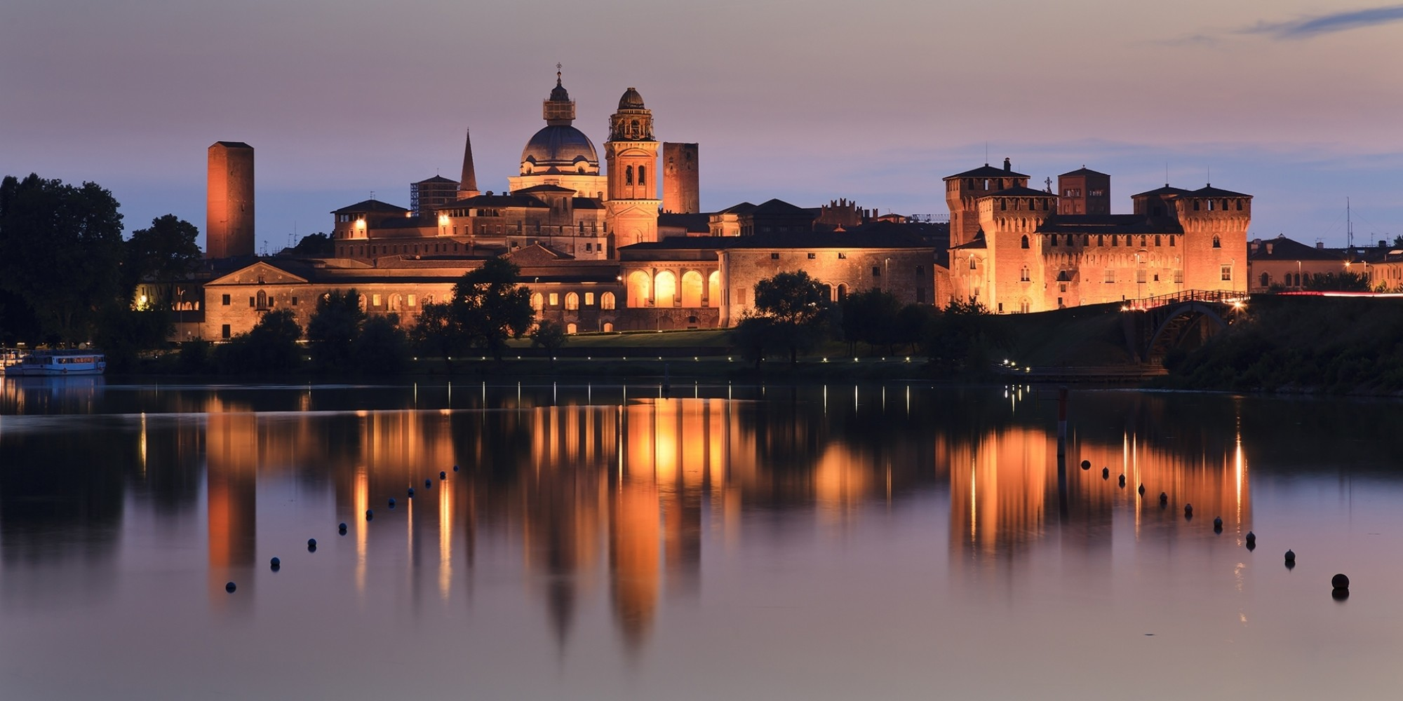 Italy mantua duke palace and castle panoramic view at sunset mantova