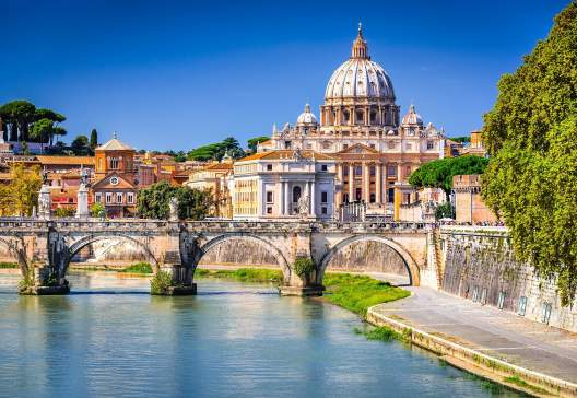Rome-Italy.-Vatican-dome-of-Saint-Peter-Basilica-and-Sant Angelo-Bridge-over-Tiber-river