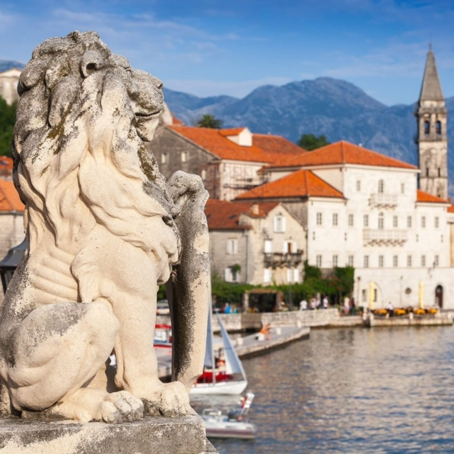 Ancient-stone-lion-statue-in-Perast-town-Bay-of-Kotor-Montenegro