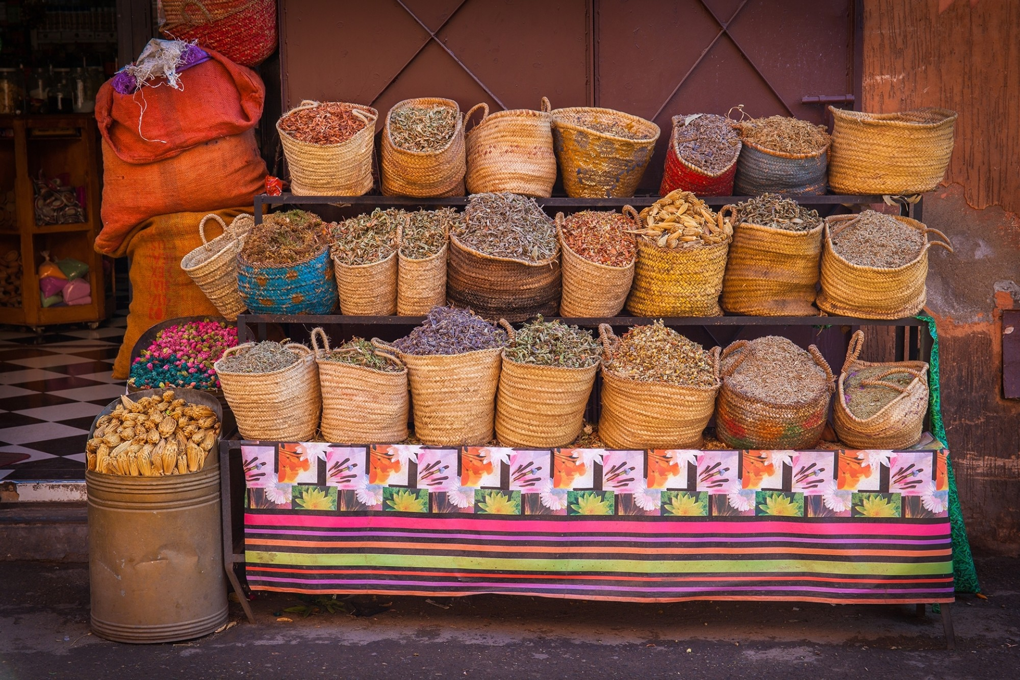 Dried herbs for sale in Marrakesh street Morocco