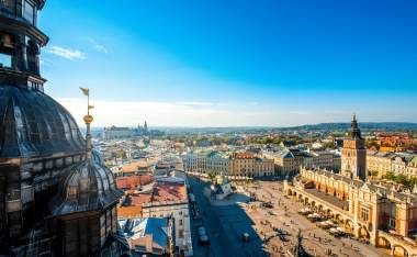 Aerial-view-on-the-main-market-square-from-St.-Marys-basilica-tower-in-Krakow