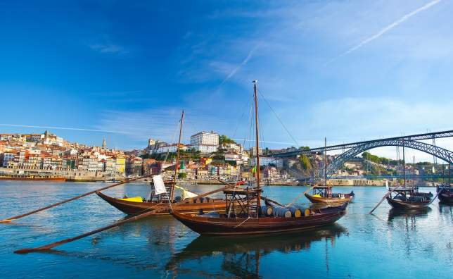 Old-Porto-and-traditional-boats-with-wine-barrels-Portugal