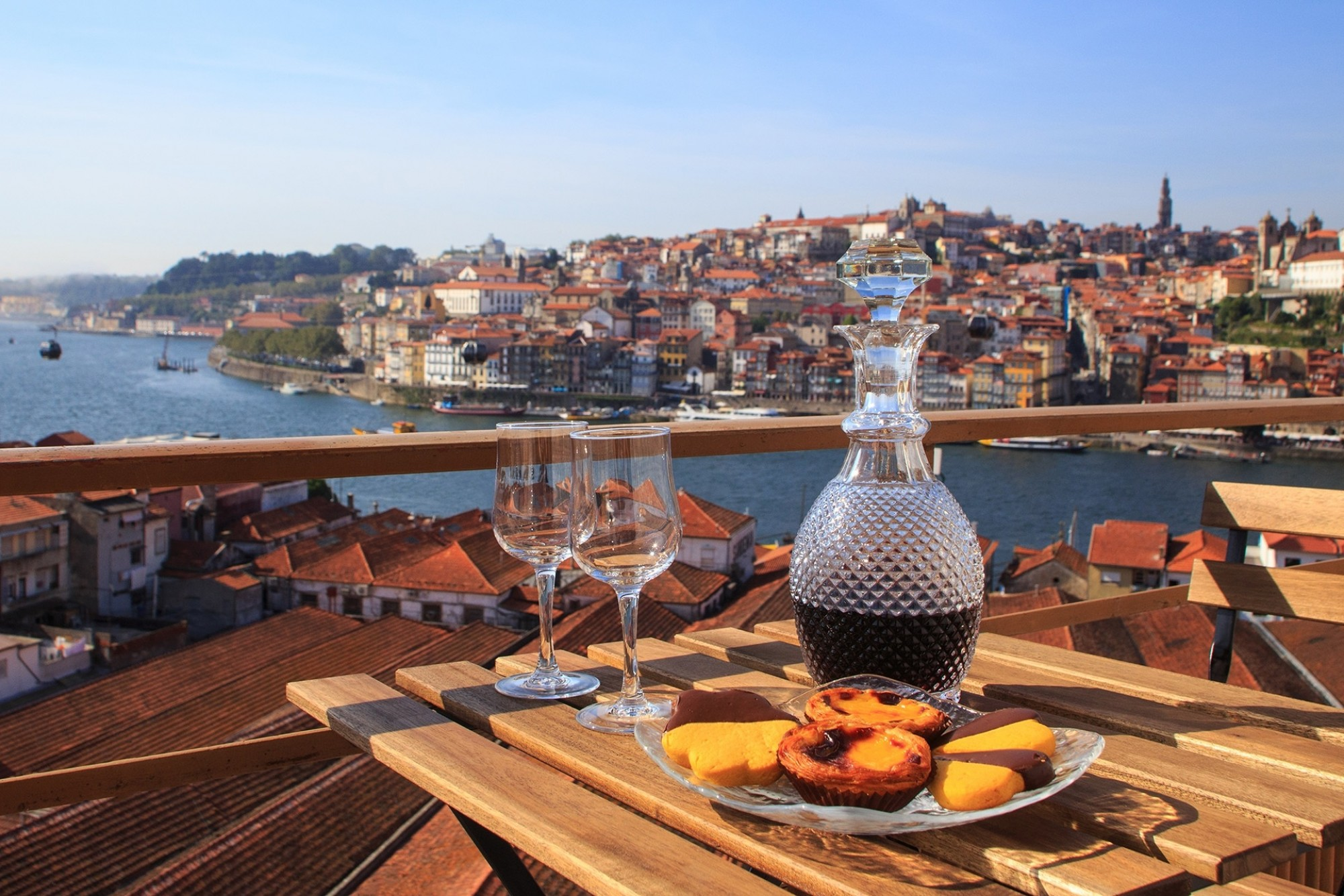 Table-with-view-a-wonderful-view-over-the-river-in-Porto-Portugal