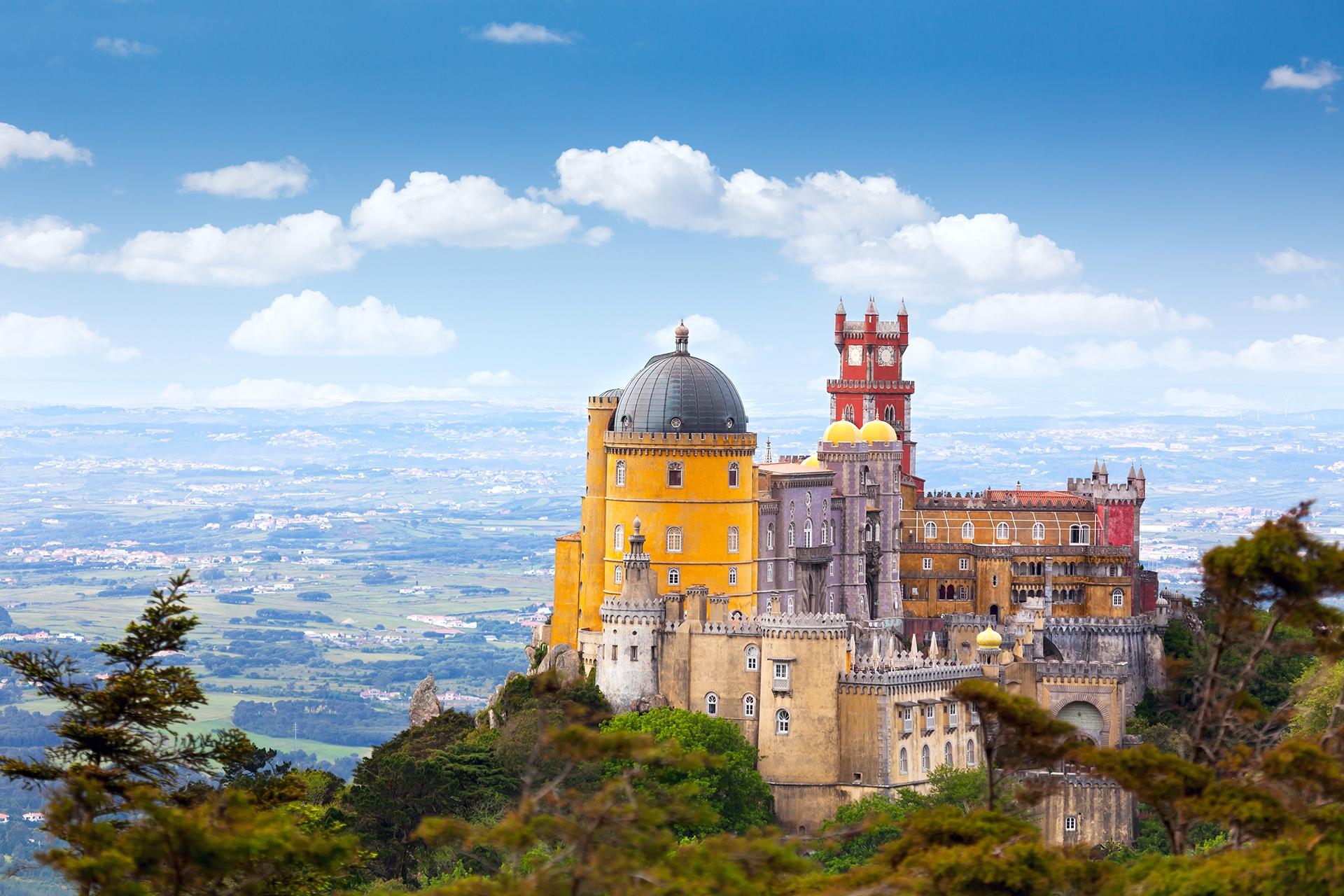 Aerial-view-of-Palace-da-Pena-Sintra-Lisboa-Portugal-European-travel-Horizontal