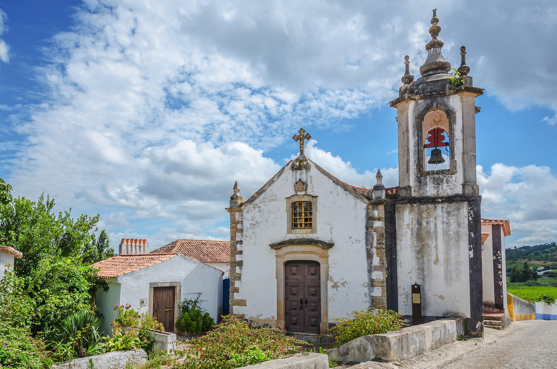 Church-in-Obidos-Portugal-on-cloudy-sky