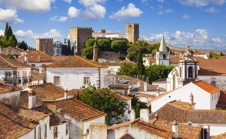 Roofs-and-castle-of-Obidos-a-medieval-fortified-village-in-Portugal