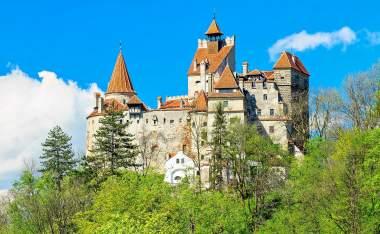 Bran castle and spring landscape Transylvania Romania