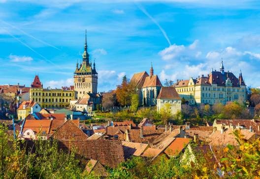 Panoramic view over the medieval fortress Sighisoara city Transylvania Romania