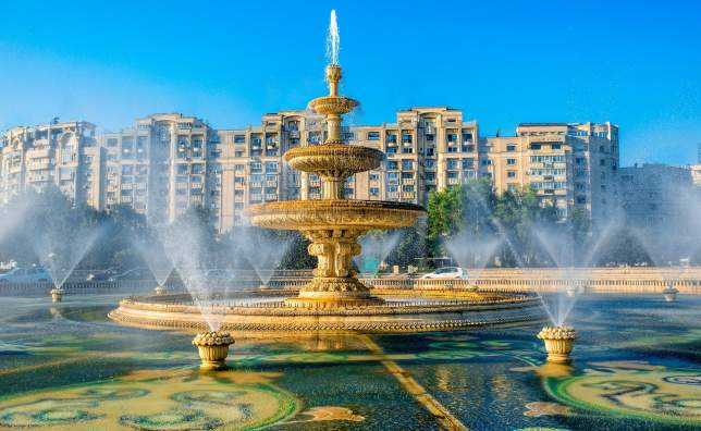 Central city fountain in Bucharest capital of Romania