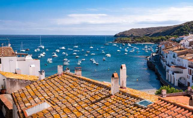Rooftops and bay at Cadaques Spain
