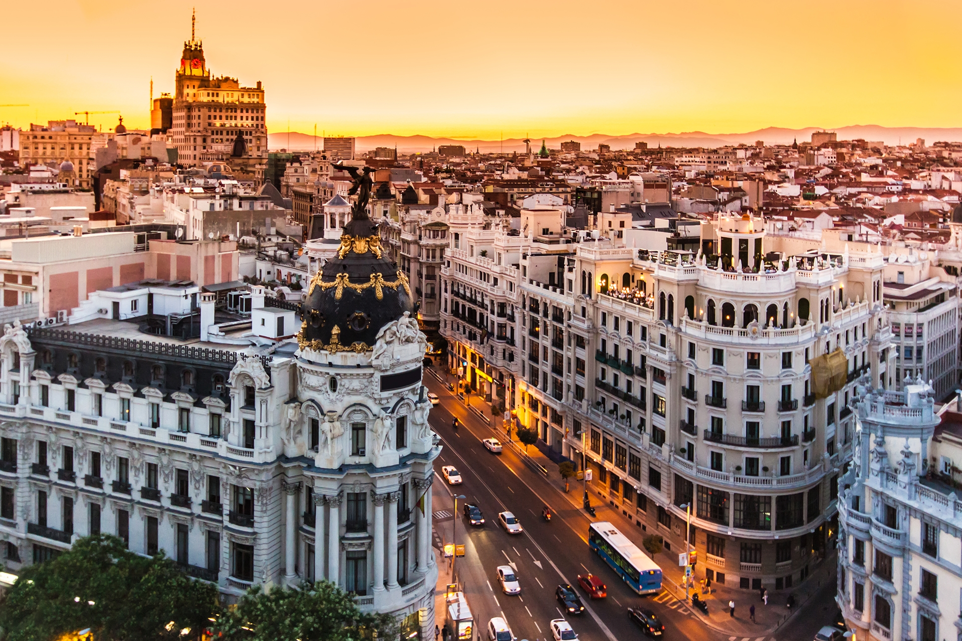 Panoramic aerial view of Gran Via main shopping street in Madrid capital of Spain Europe