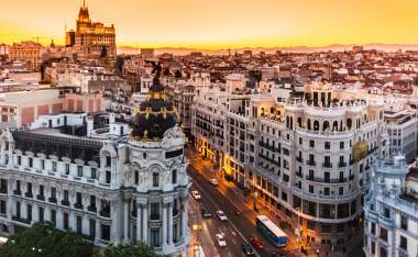 Panoramic aerial view of Gran Via main shopping street in Madrid capital of Spain Europe