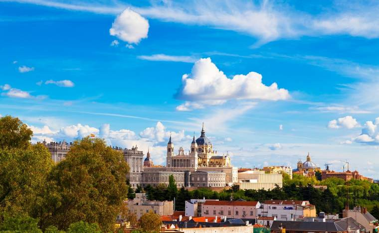 Panorama of Madrid Spain with the Royal Palace and the Almudena Cathedral