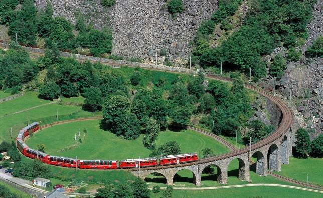 Rhb5421 The Bernina Express crosses the famous Brusio Circular Viaduct
