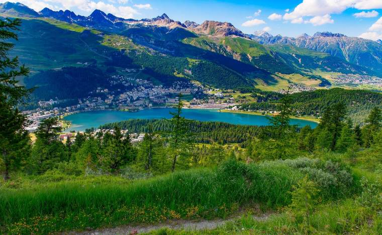 View of St Moritz from a mountain trail in summer