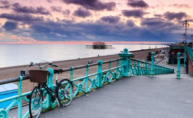 The-old-derelict-West-Pier-in-Brighton-at-sunset-from-the