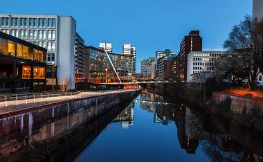Urban landscape of Manchester and River Irwell passing through Manchester city centre