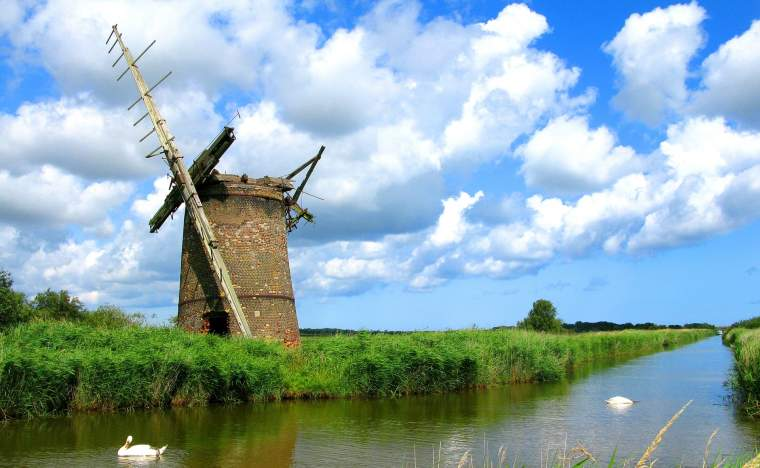 A-Ruined-Windmill-in-the-Norfolk-Broads-England