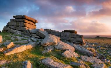 Dramatic-sunset-over-Staple-Tor-on-Dartmoor-National-Park-in-Devon