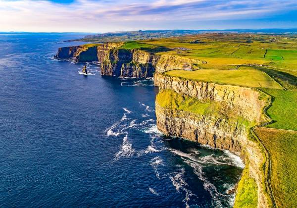 Aerial view of Cliffs of Moher Liscannor Ireland