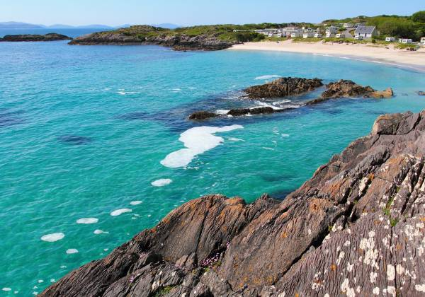 White sand beach in Ring of Kerry famous coastal route in Ireland