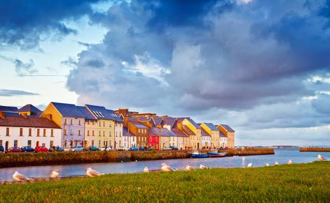 Late Evening Sunlight on colourful houses Galway City Ireland