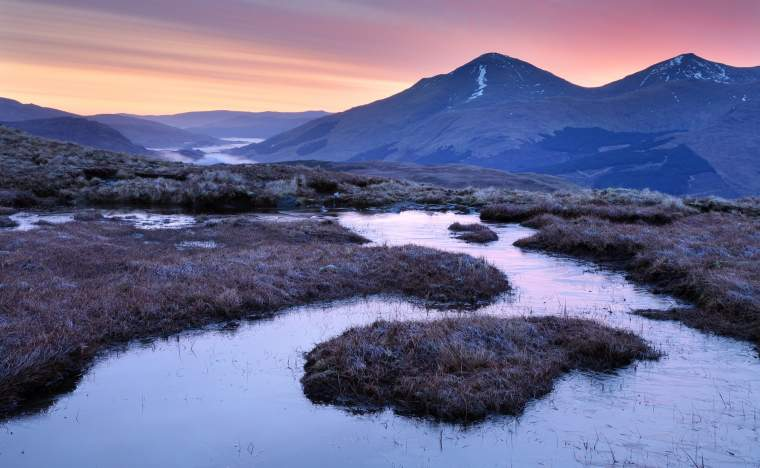 A-winters-dawn-in-the-north-of-Loch-Lomond-and-the-Trossachs-National-park-looking-towards-Chabhair