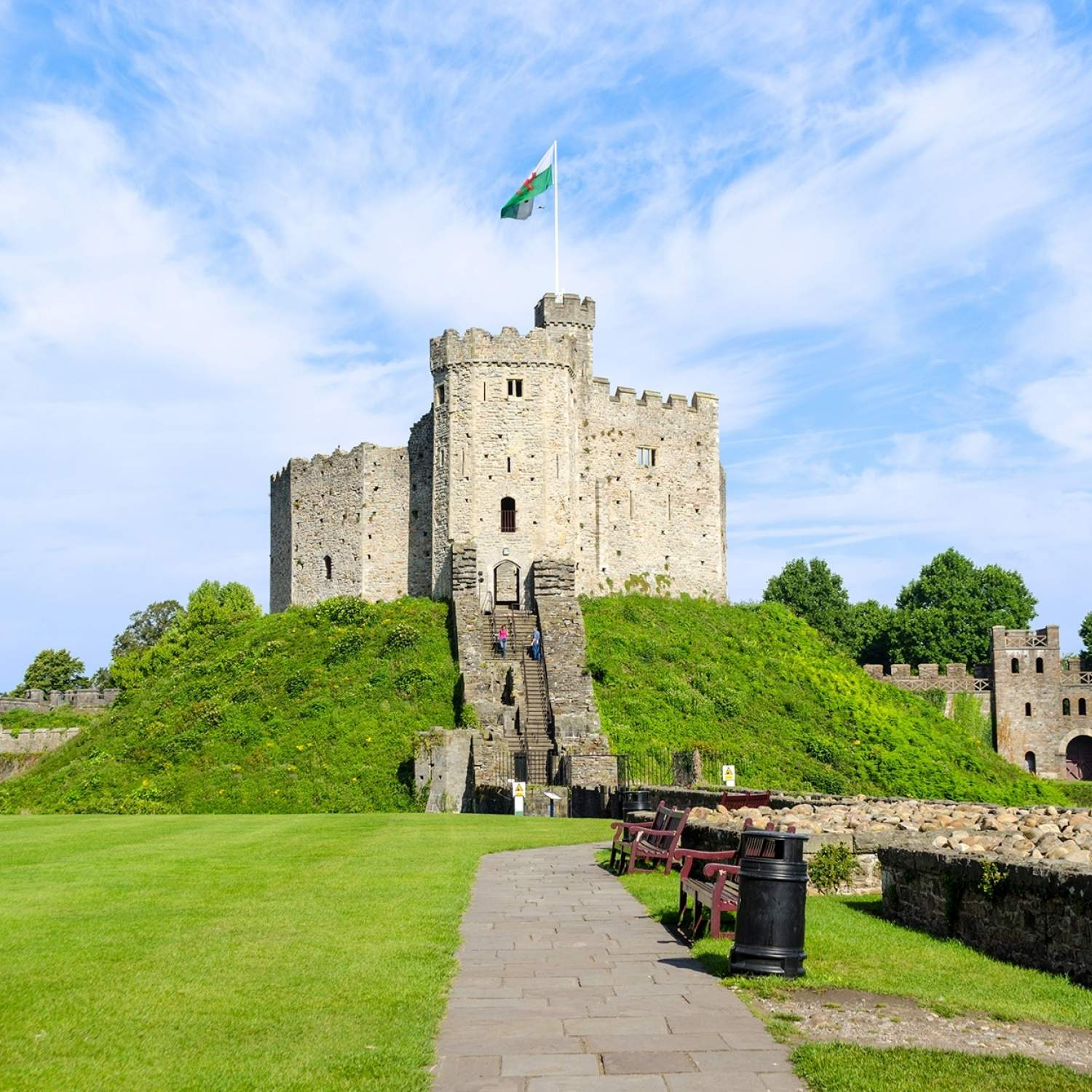 Exterior-of-Cardiff-Castle-Wales-United-Kingdom