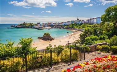 Tenby Beach and Park Pembrokeshire Wales UK
